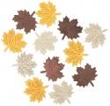 Výseky dřevěné - listy 4 cm, 3 barvy - 12ks III