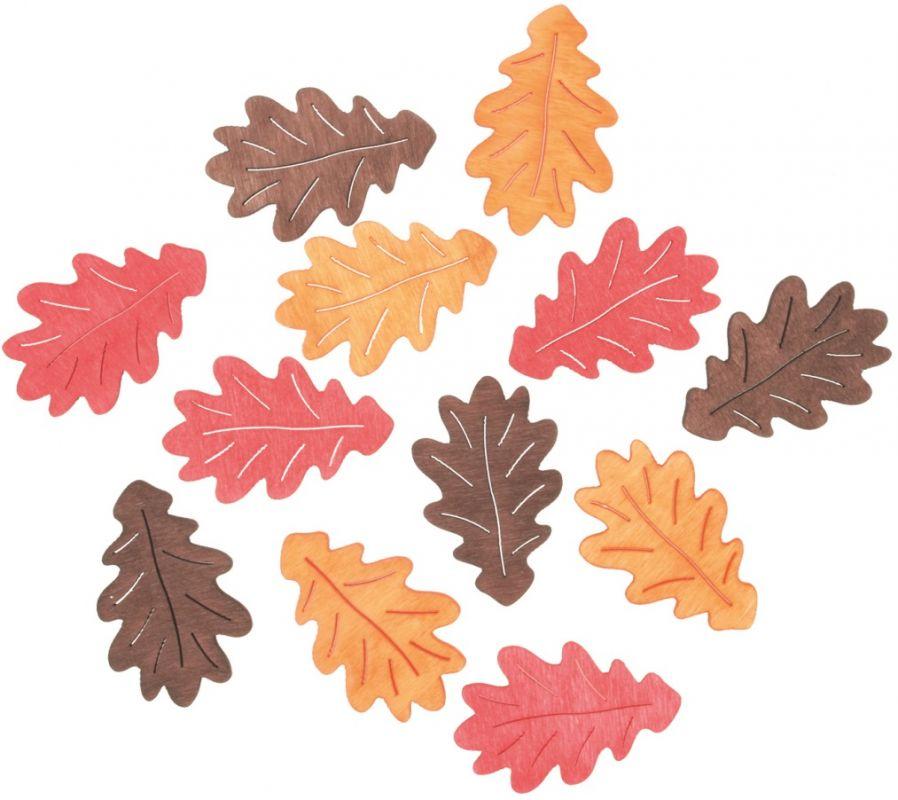 Výseky dřevěné - listy 4 cm, 3 barvy - 12ks IV
