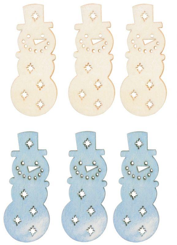Výseky dřevěné - sněhuláci 6 cm, 2 barvy - 6 ks ...3989