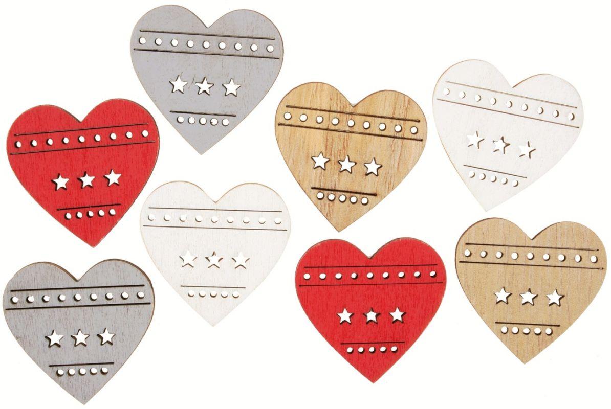 Výseky dřevěné - srdce 3,5 cm, 4 barvy- 8 ks