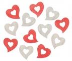 Výseky dřevěné - srdce 4 cm, 3 barvy - 12 ks