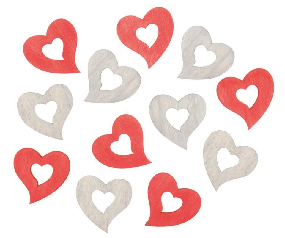 Výseky dřevěné - srdce 4 cm, 3 barvy - 12 ks ostatní