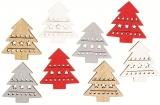 Výseky dřevěné - stromky 3,5 cm, 4 barvy- 8 ks