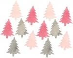 Výseky dřevěné - stromky 4 cm, 3 barvy - 12 ks II