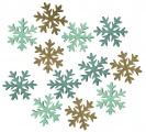 Výseky dřevěné - vločky 4 cm, 3 barvy - 12 ks ...3987