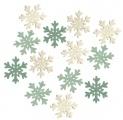 Výseky dřevěné - vločky 4 cm, 3 barvy - 12 ks ...3994