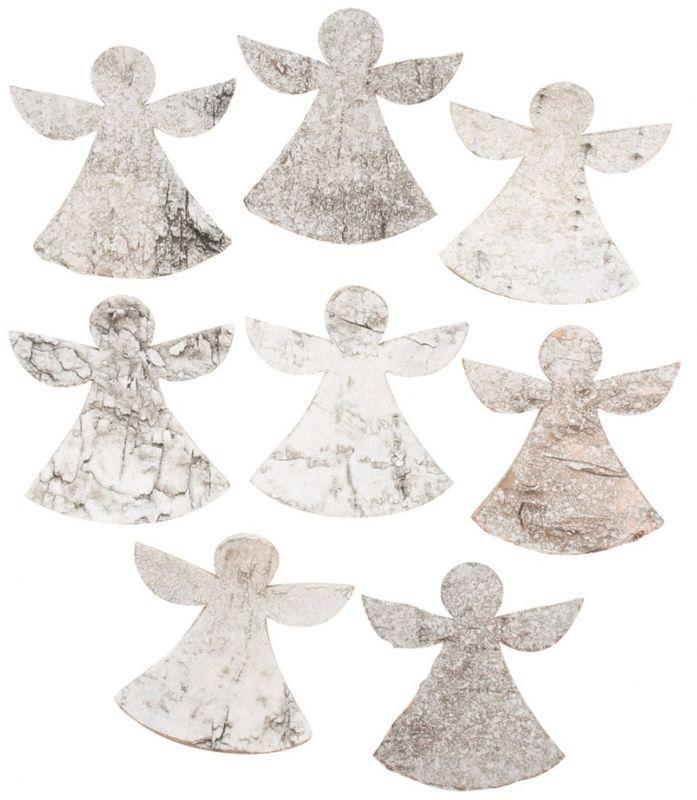 Výseky z březové kůry - andělé 5 cm, 8 ks