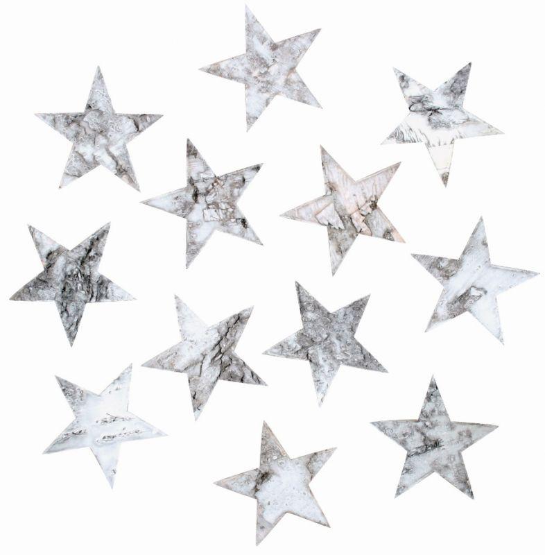 Výseky z březové kůry - hvězdy 5,5 cm, 12 ks